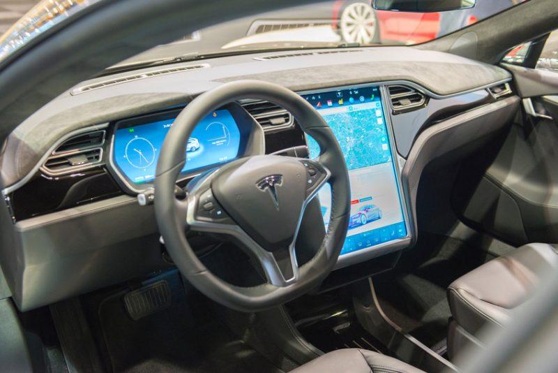 Tesla Model S  full electric luxury car dashboard
