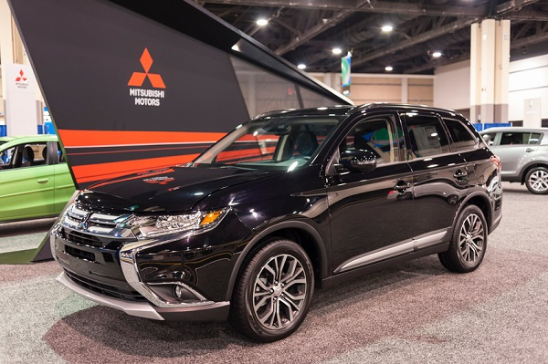 Charlotte, NC, USA - November 11, 2015: Mitsubishi Outlander on display during the 2015 Charlotte International Auto Show at the Charlotte Convention Center in downtown Charlotte.