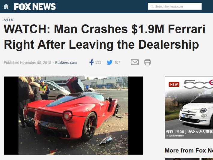 ディーラーを出た直後、2億1000万円の新車フェラーリオーナーに起きた悲劇とは?