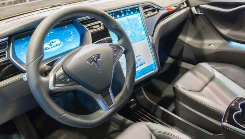 Tesla Model S  full electric luxury car dashboard.