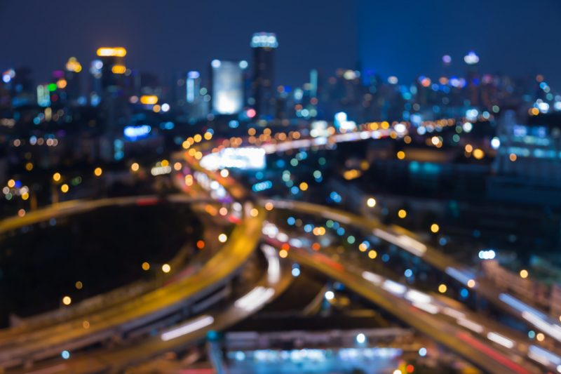 Abstract blurred bokeh lights, city elevated road