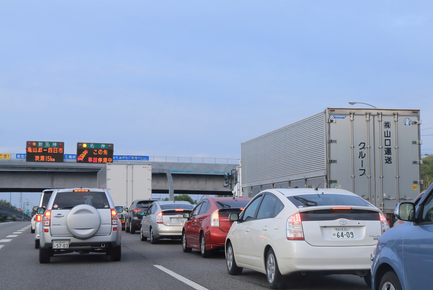 Kyoto Japan - May 6, 2015: Cars and trucks in traffic jam due to traffic accident in Meishin highway in Siga prefecture Japan.