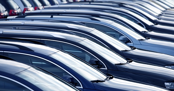 close up with shallow depth of field of brand new cars