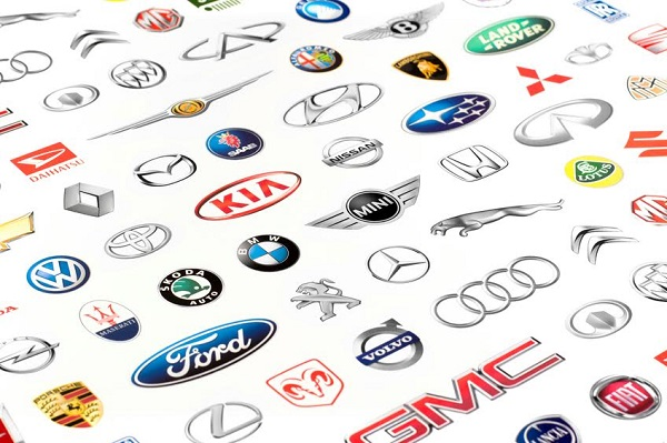 Zaporozhye, Ukraine - June 12, 2015: Photo of a vehicle manufacturer logos printed on paper. Include Mercedes-Benz, Nissan, Kia, Porsche, Audi, BMW, Alfa Romeo, Lexus, Honda, Opel, Land Rover and more others logo.