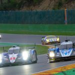Spa, Belgium - May 2, 2015: TOYOTA Racing Toyota TS040 and KCMG Oreca 05 race cars driving around the Spa Francorchamps race track during the WEC 6 Hours of Spa-Francorchamps. The cars participate in the 2015 FIA World Endurance Championship (WEC).