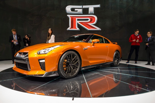 New York, USA - March 23, 2016: Nissan GT-R on display during the New York International Auto Show at the Jacob Javits Center.