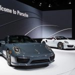 Detroit, MI, USA - January 12, 2016:  A 2017 Porsche 911 Turbo and Turbo S global debut car at the North American International Auto Show (NAIAS), one of the most influential car shows in the world each year.