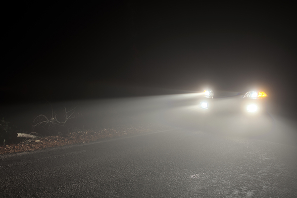 A shot of a car with its headlights and fog lamps on. Canon EOS 5D Mark II, Adobe RGB.