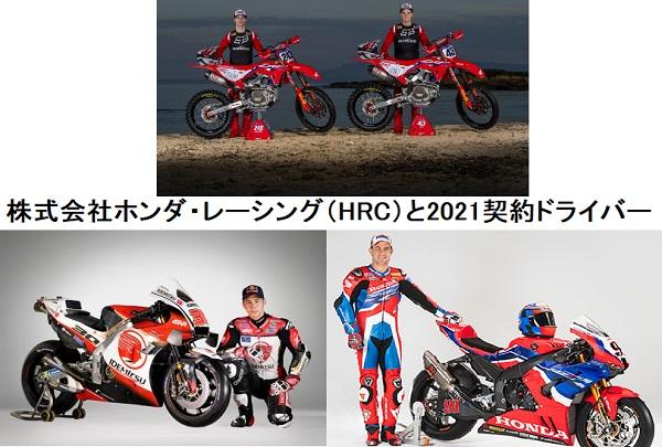 HRC(ホンダレーシング)が、二輪オンオフ共にドライバーと2021年契約合意に